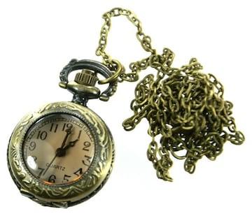 【卸価格】ガラスカバー付 小型懐中時計 ネックレス ゴールド
