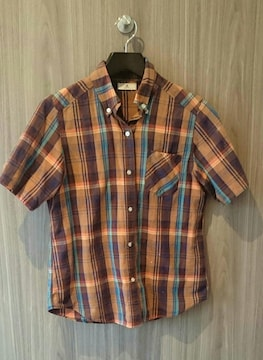 マジェスティックレゴン オレンジ×茶×青 マドラスチェック ボタンダウン 半袖シャツ