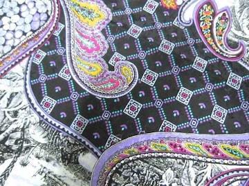 ポリ織柄植物模様紫系約93×1000cm+残布レターパック510円配送可