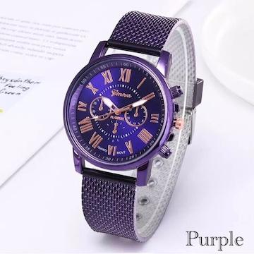 腕時計 時計 ギリシャ文字 ステンレス メッシュ パープル