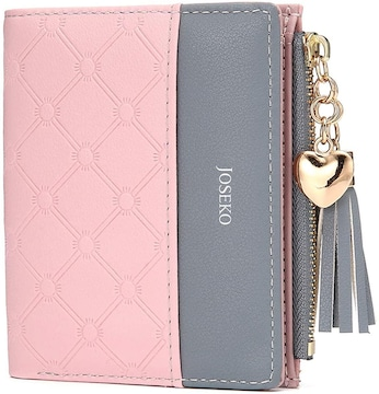 お買い得1290円★二つ折り PU コンパクト シンプル財布ピンク