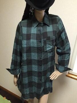 大きいサイズ*チェック*裾変形*チュニワンピ*緑×黒