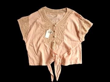 新品 blanchechou かぎ編みレース使い 裾結び ブラウス インド製