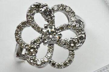 K18WG ゴージャス 1.00ct ダイヤモンドリング 12号 指輪