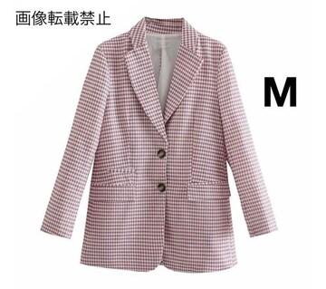 pink チェック柄 ジャケット ブレザー ZARAお好きな方に★ M