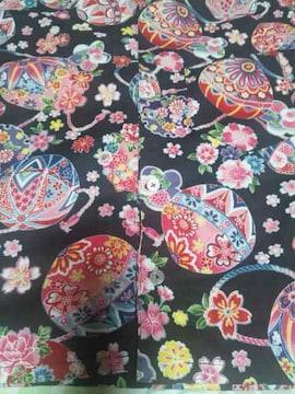 ☆新柄黒×桜牡丹鞠和柄ダボシャツ130