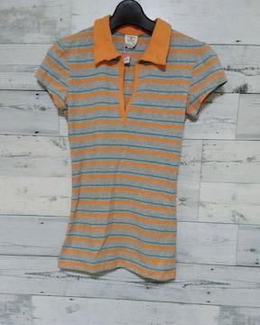 Tommyトミージーンズ★オレンジ スリムボーダーポロシャツ