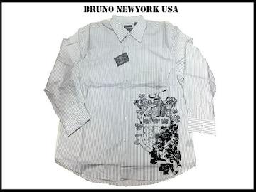 新 【白黒色-4XLB】 Bruno Newyork シャツ 人気ビッグいサイズ