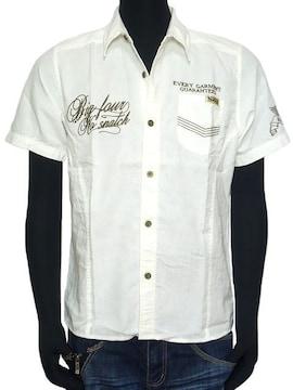 新品Norton刺繍半袖ワークシャツホワイトLミリタリーアメカジ