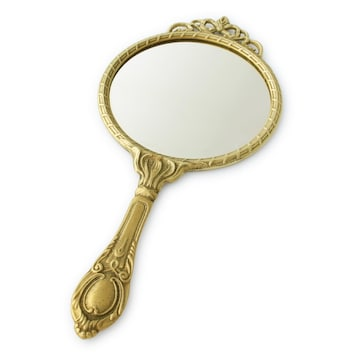 イタリア直輸入 プリンセス ミラー L 手鏡 ブラス 天使 メイク