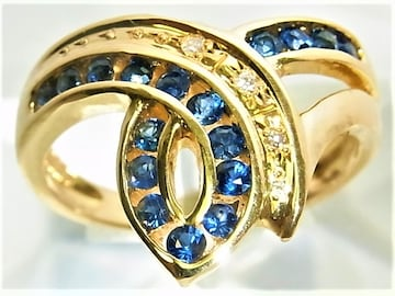 K18 18金 リング 指輪 サファイヤ ダイヤ入 d