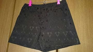 116 HK works London ショートパンツ 地模様 黒 ブラック*W64