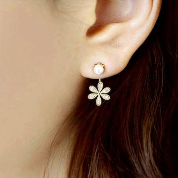 新品[7821]可愛いキラキラのお花とパールのピアス