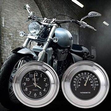 色黒文字盤 高品質 Motorbike用品 バイクハンドル用 温度計 時計