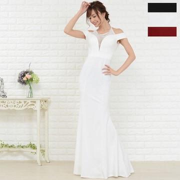 美ライン マーメイドロングドレス 胸元豪華ビジュー チャムドレス