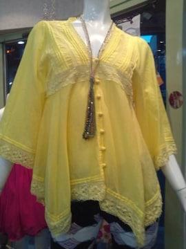 黄色ブラウス七分袖裾イレギュラー国産可愛い格好いいM7〜9号