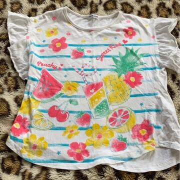 *フリル袖サマー柄Tシャツ*130