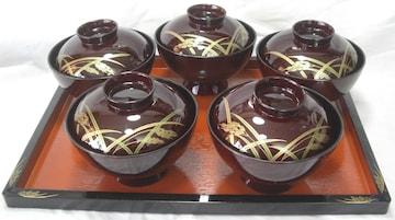 陶器コレクション:稲穂お吸い物蓋付椀5客TW25未使用0223No5