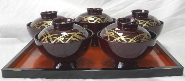 陶器コレクション:稲穂お吸い物蓋付椀5客TW25未使用0223No5 < インテリア/ライフの