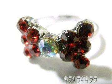 《New》ageha掲載★キラキラ*パヴェリボン・リング/指輪<レッド>【箱付】