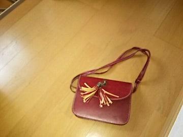 新品タッセルチャーム付色ショルダーミニバック