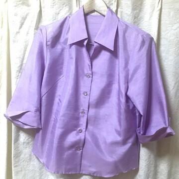 七分袖ブラウス パープル シャンタン光沢 L 紫 千趣会ベルメゾン
