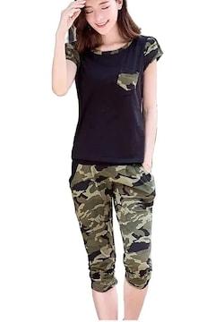 超お買い時★迷彩柄ジャージ 半袖 7分丈上下 セット黒XL