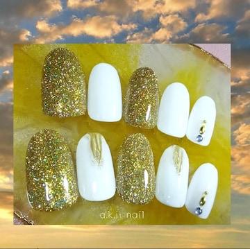 ジェルネイルチップ☆付け爪~ゴールド フラッシュ