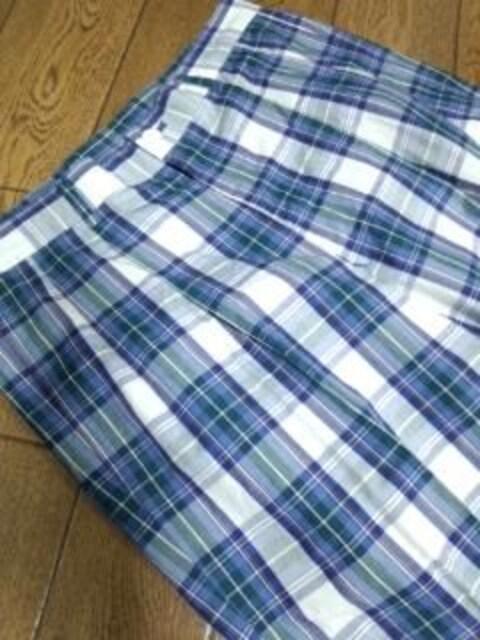 ブルー系 薄手チェックパンツ L 新同!送料込み! < 男性ファッションの