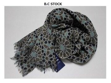 B.C STOCK*simplicite★ウールガーゼ*フラワー柄ストール/新品ブルー系