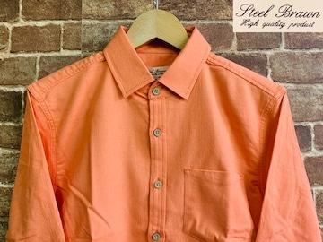 表記M/新品!ストレッチ 綿麻 7分袖 シャツ 無地 サーフ 西海岸カリフォルニアスタイル