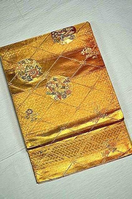 千鳥523*金箔置きに花丸 上品な袋帯 美品  < 女性ファッションの