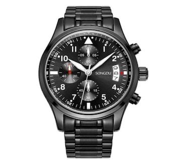 メンズ 腕時計 多針アナログ 日付表示ブラック ホワイト