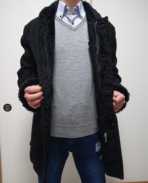 送料無料!!ムートン風BLACKコート!暖かい!!Lサイズ