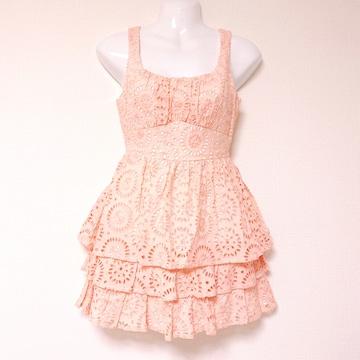 フラワーコットンレースフレアワンピースドレスオレンジピンク