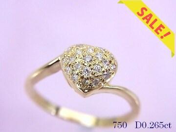 【即買い】K18YG ハートモチーフ ダイヤモンドリング 14.5号 新品仕上済★dot