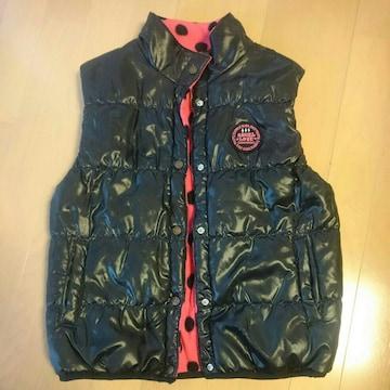 袖無しダウンジャケット風ベスト上着/ふわもこコート/サイズ150�p/ブラック×ピンク