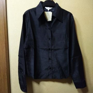 新品タグ付★光沢のある長袖シャツ/ブラック/M