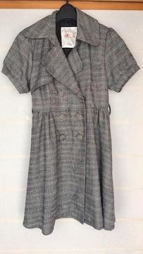 φGS リズメロ 半袖 グレンチェック コート ワンピース M N2m