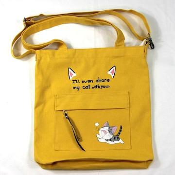 ◆猫大好き◆猫柄トートバッグ ショルダーバッグ 黄色