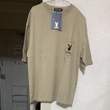 プレイボーイTシャツ半袖ベージュ裏のプリント可愛いです。