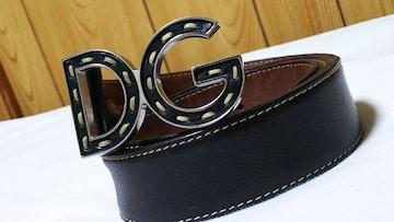正規 ドルチェ&ガッバーナ オープンDGロゴ×レザーコンビバックルベルト黒 80 D&G