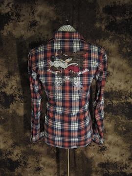 (定価44000)ロアー roar・クロスガン×ウルフ・チェックシャツ