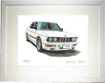 GC-1319 BMW M535i E28限定版画サイン額装作家平右ヱ門