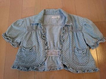 女児半袖トップス♪可愛いミニ丈デニム上着サイズ130�p♪ドット柄