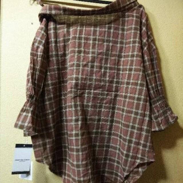 新品タグ付★片側オフショ五分袖シャツ/茶M < 女性ファッションの