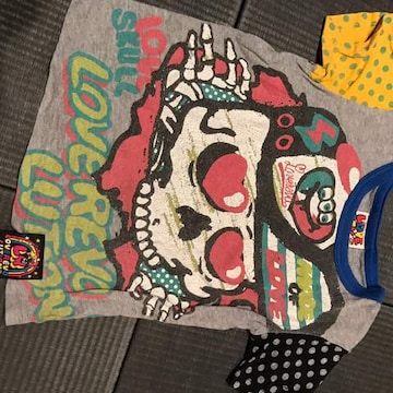 ラブレボ スカル×ドット可愛いTシャツ 110サイズ