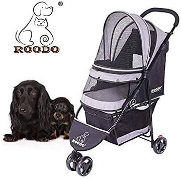 ROODOペット用ベビーカー 多機能ポータブル 3 輪ペットカート 折