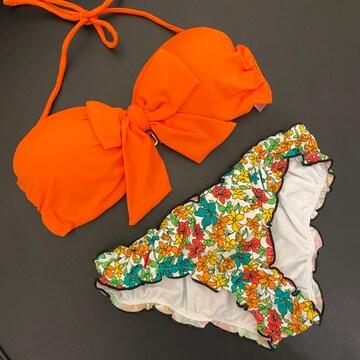 バンドゥビキニ 上下セット レディース水着 オレンジ