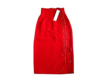 新品 定価7500円 スパイラルガール 赤 タイト ロング スカート